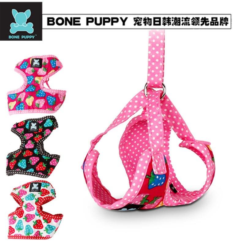10 unids/lote, mezcla de Sze y colores mezclados, hueso cachorro algodón suave diseño de fresa mascota correa de paseo juego de arnés