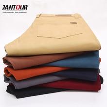 Jantour marka męska lato cienkie 98% spodnie bawełniane mężczyźni elegancka typu Slim elastyczna w stylu Casual, czarny Khaki Fit proste spodnie męskie
