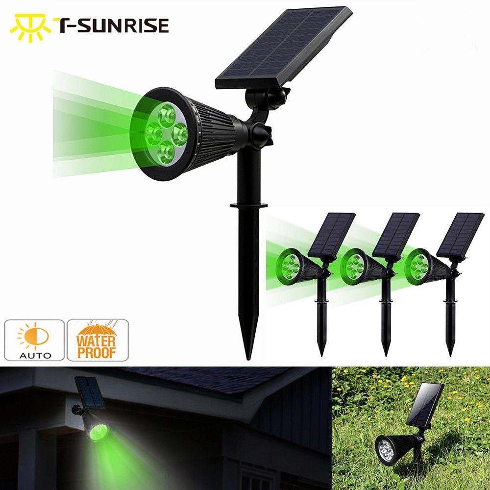 T-SUNRISE 4 حزمة مصباح تعمل بالطاقة الشمسية IP65 مقاوم للماء 4 وحدة إضاءة LED جداريّة ضوء لحديقة ديكورات للباحة اللون الأخضر