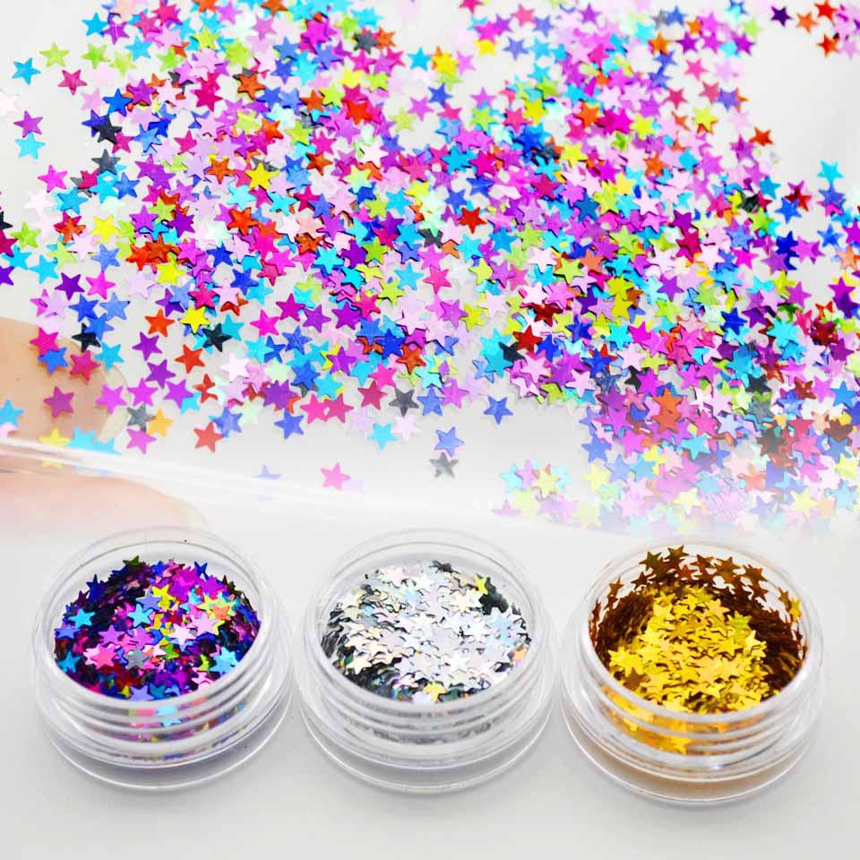 Lantejoulas laser com glíter estrela, decorações para arte em unhas, 1 caixa com lantejoulas, brilho, colorido, ouro, prata, decoração de manicure sf0062