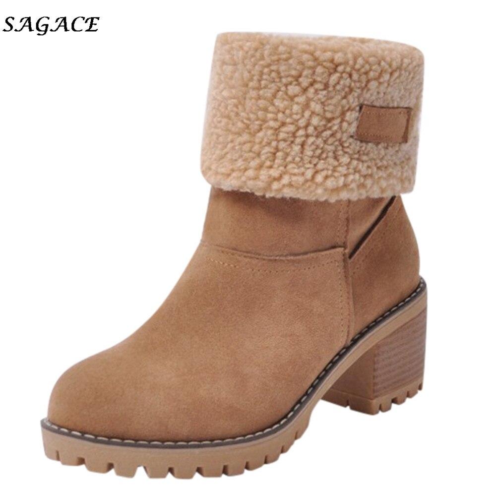 Sagace 靴女性フロックアンクルブーツ暖かい秋の冬の靴固体楼門ミドル 3 センチメートルヒール高マーティンカジュアル毛深いサイドブーツ