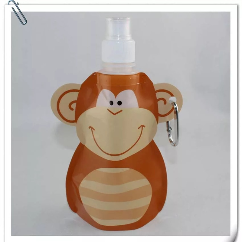 Animal dos Desenhos Animados de Viagem Bolsa de Água Garrafa de Bebida para Crianças e Crianças Dobrável Food Grade 300ml Eco Bpa