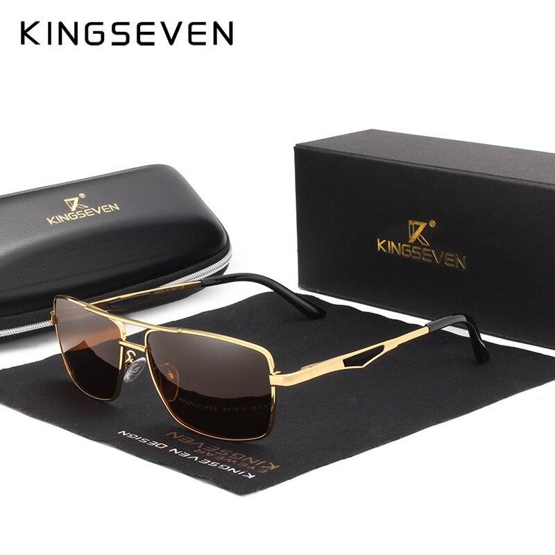 Kingseven design da marca óculos de sol polarizados homens tons masculinos vintage óculos de sol para homem espelho verão uv400 oculos