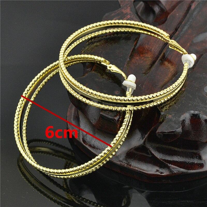 Clip grande circular en la orejera, sin orificio de oreja, sin piercing, pendientes para mujer, joyería de moda, pendientes de bucle de oro y plata para mujer