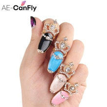 AE-CANFLY 4 шт Эмалированные кольца для пальцев для женщин Корона горный хрусталь над костяшками пальцев ногтей набор колец RJ134
