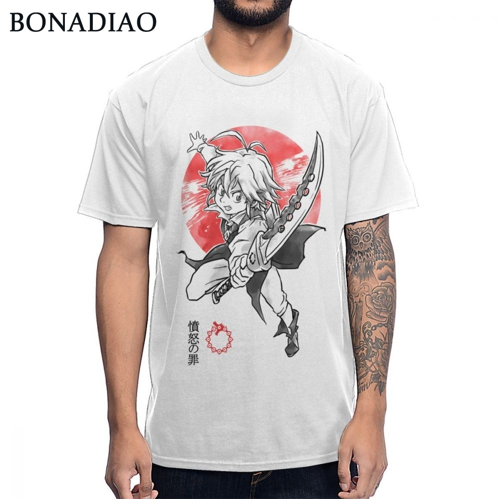 Captain Of The Seven Deadly Sins Meliodas Dragon Sin Of Wrath T shirt Mens Summer Classic O-neck Pure Cotton Big Size   T-shirt