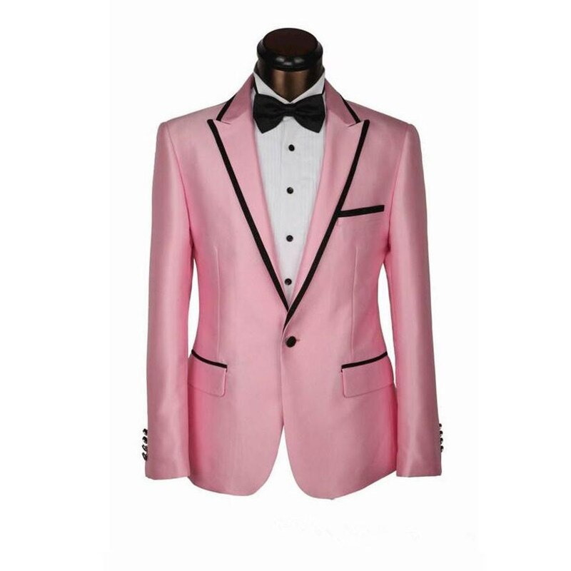 NEW Pink Men's Wedding Suits Brand Blazer British's Style Business Tuxedos For Groom Slim Fit Suit (jacket+pant+tie)