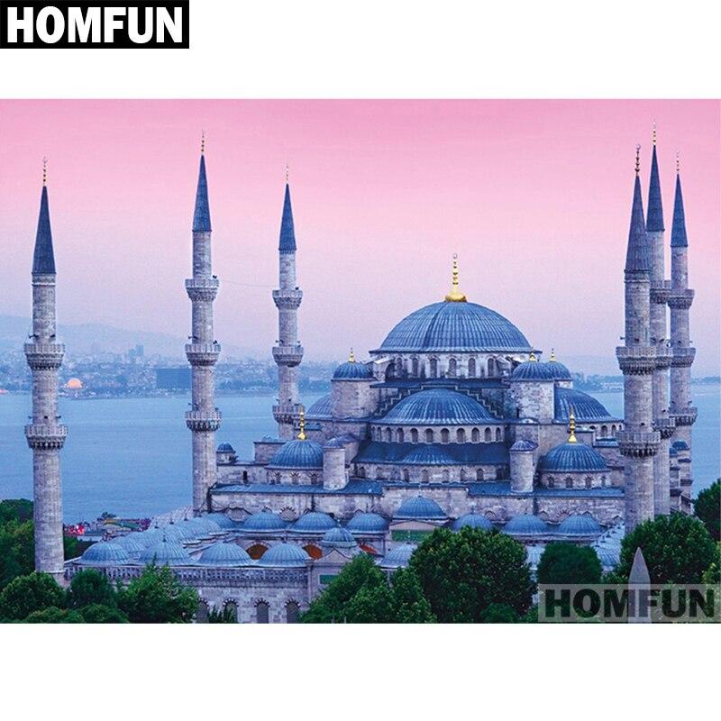 "HOMFUN taladro cuadrado/redondo completo 5D DIY pintura de diamante ""mezquita religión"" bordado punto de cruz 5D decoración del hogar regalo A01413"