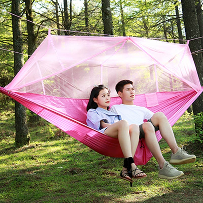 Ultraligero al aire libre Camping caza mosquitera hamaca portátil 2 personas jardín colgante cama tienda TT-best