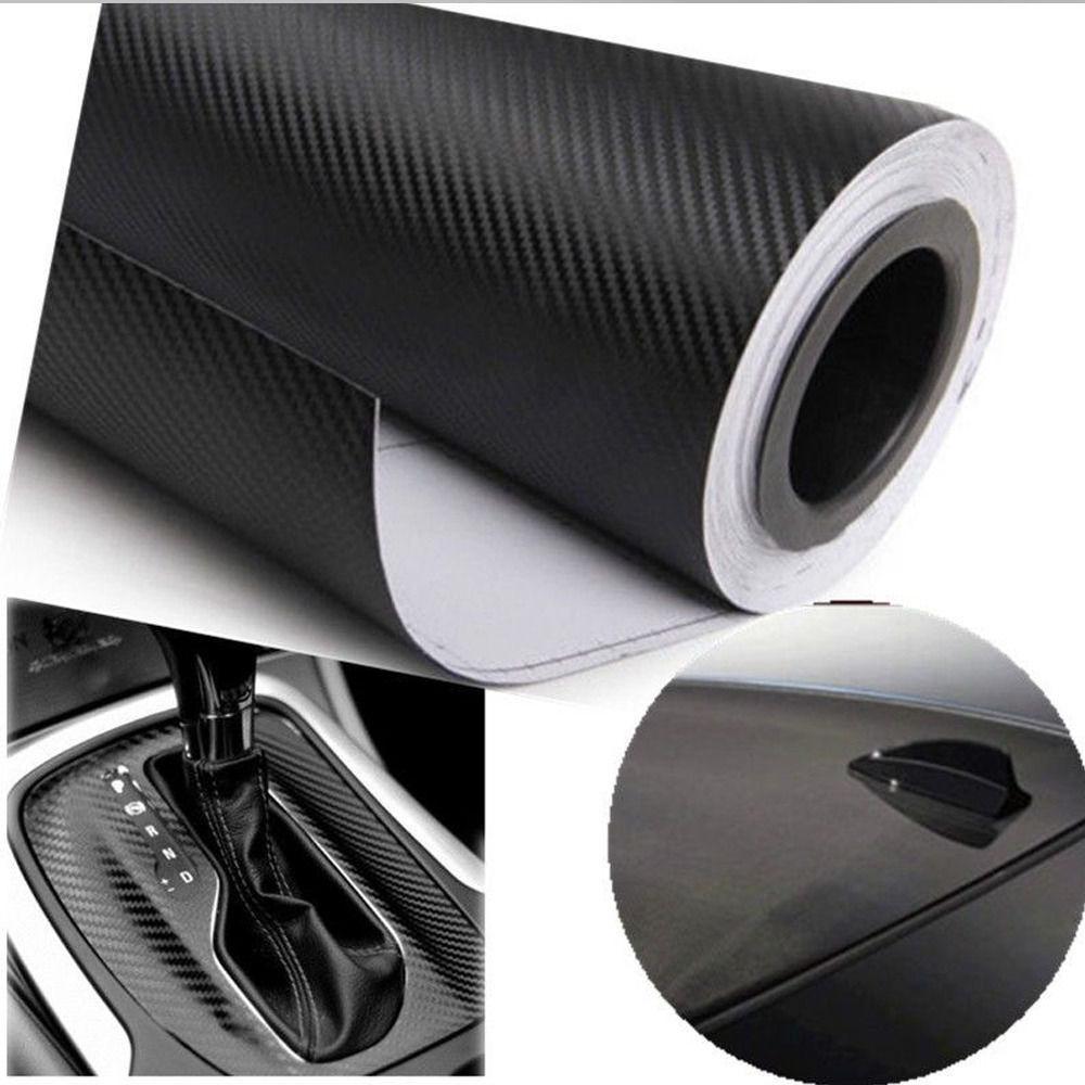 CHIZIYO-housse de voiture en vinyle 3D   En Fiber de carbone de 30cm x 127cm, feuille en rouleau, autocollants et autocollants de voiture, moto noir blanc
