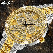 MISSFOX montre de luxe femmes strass Xfcs dames rétro montres en or Top marque de luxe Quartz Movt Bu antichoc montre étanche
