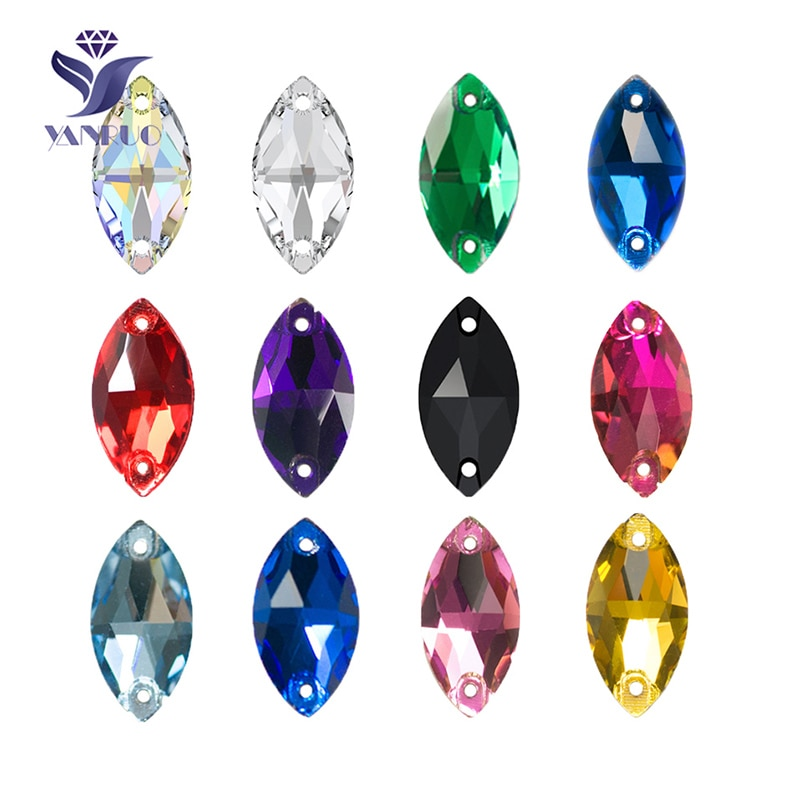 YANRUO 3223 Navette Horse Eyes Shape Sew On Crystal Glass flat back Rhinestones AAAAA Quality Stones For Clothes