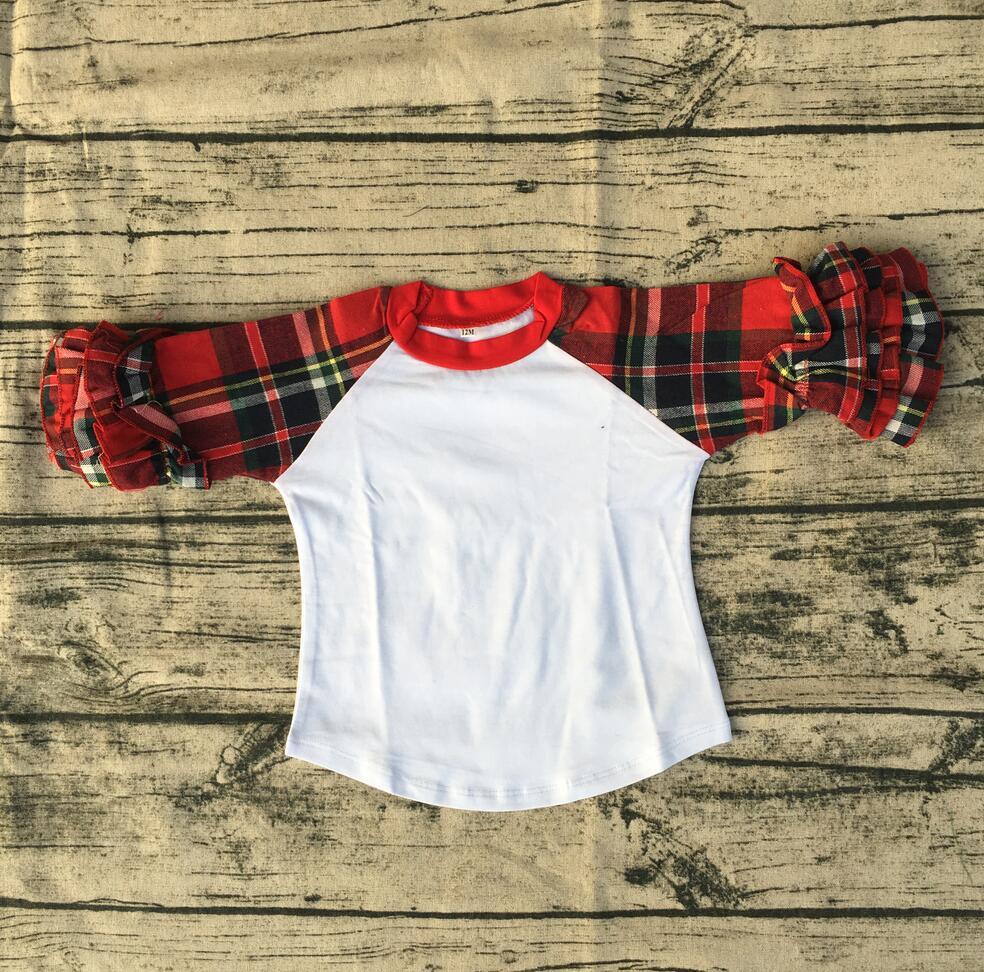 Girls Party New Design Blouse Top Shirt Boutique Plaid Long Sleeve Knit Icing Ruffle Children Raglan Shirt