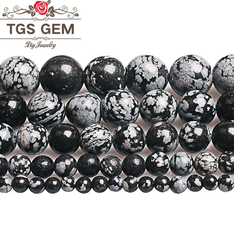 Cuentas de piedra Natural copo de nieve obsidiana redondas sueltas para Diy Fabricación de collares y pulseras hechas a mano 4 6 8 10 12mm