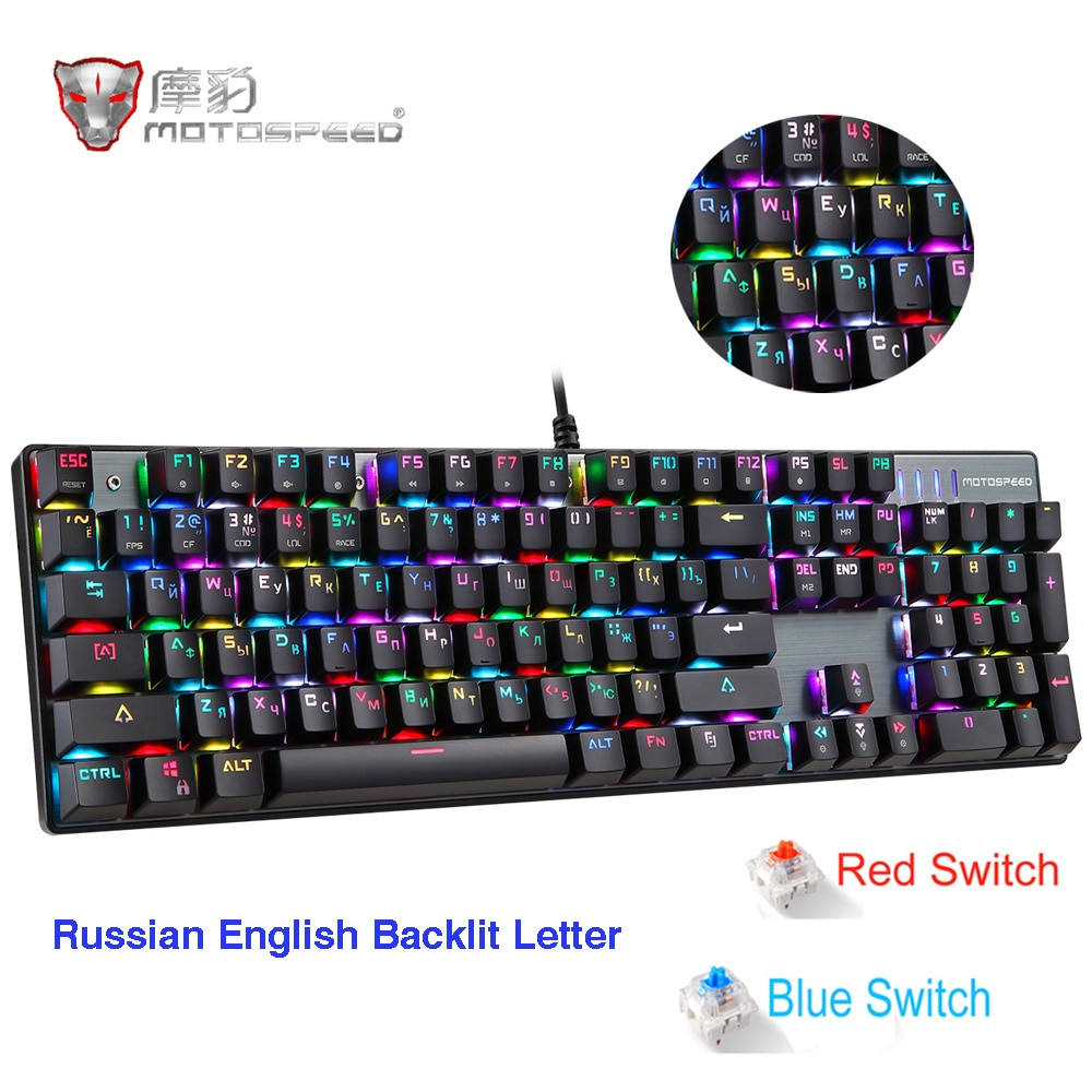 Teclado mecánico para videojuegos Motospeed CK104, interruptor Azul Rojo ruso, con cable de Metal, retroiluminado con LED RGB, anti-ghosting para gamer