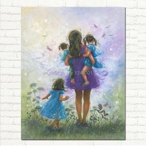 Ручная роспись масляных картин на холсте для мамы с 3 девочками фиолетового и синего цвета настенная живопись для детской комнаты Холст Кар...