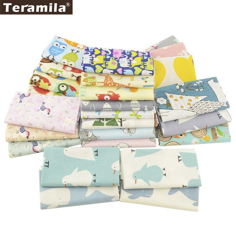 Tela de algodón Teramila, 25 diseños, mezcla de dibujos animados, tela de retazos de costura para edredones, paquetes de abalorios, tela textil medidor