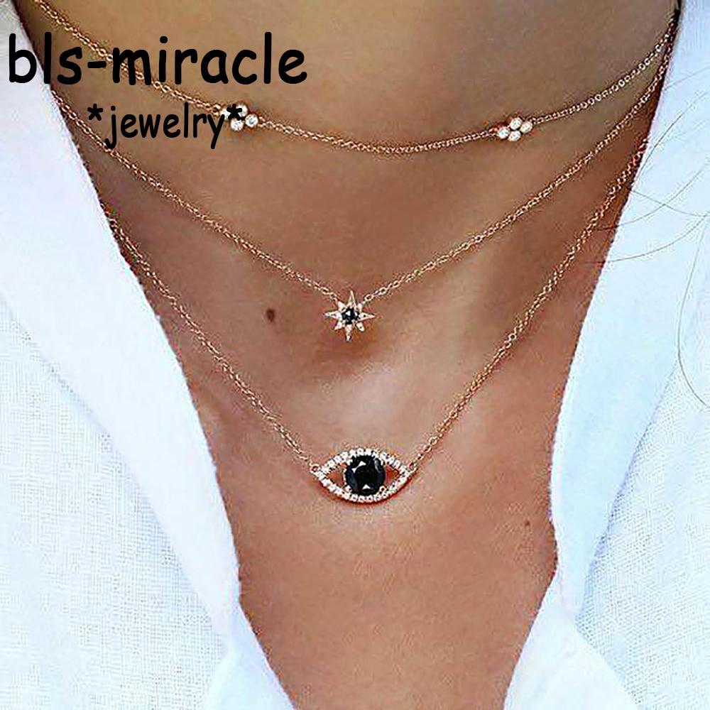 Bls-miracle, colgante Vintage de ojo de cristal negro, collares multicapa para mujer, collar largo de moda con dije hexagonal dorado, joyería