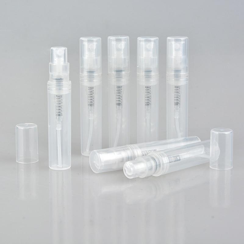 100 قطعة/الوحدة 2 مللي 3 مللي 4 مللي 5 مللي صغيرة جولة البلاستيك حاويات زجاجات العطور البخاخة الخالي التجميل حاويات لعينة