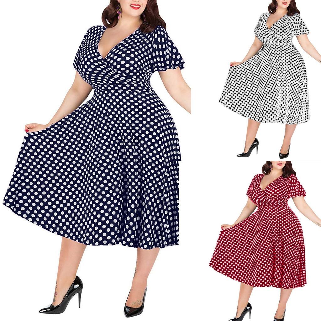 Dresses Womens Casual Plus Size V-neck Short-Sleeved Polka Dot Printed Belt Dress сарафан женский летний #400