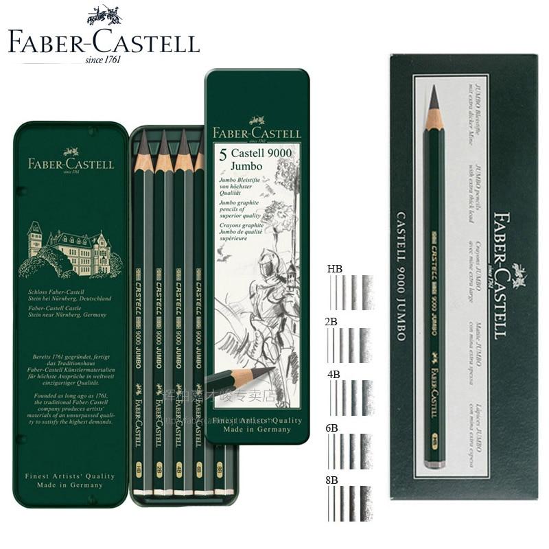 Faber Castell 9000 Jumbo Graphite Pencils Pack Of  5pcs/6pcs HB 2B 4B 6B 8B  0.53mm Lead Art Sketch Pencil