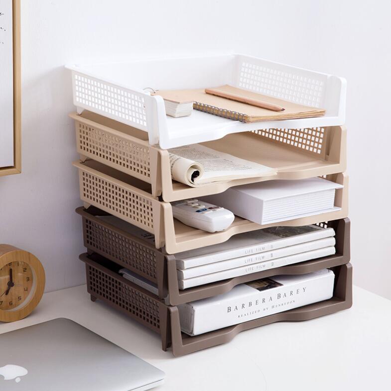 Organizador de documentos apilable A4 para escritorio, 2 unidades por lote, accesorios de oficina, bandeja de papel de plástico para documentos