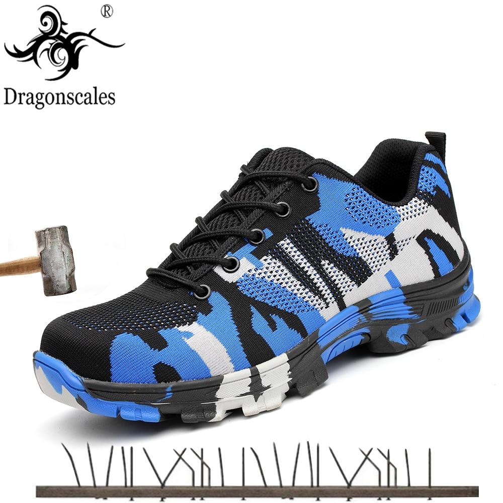 2020 nuevos zapatos de seguridad para hombres, puntera de acero, botas de seguridad de trabajo militar, zapatos para hombres, botas de ejército de camuflaje a prueba de pinchazos de talla grande