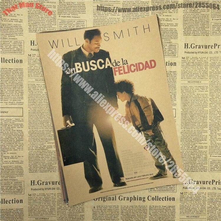 La búsqueda de la pegatina de pared Happyness Will Smith se ha roto por Hollywood Retro papel Kraft adorno película cartel Vintage