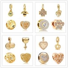 New original DIY charm Gold bead honey bee love heart pendant charm fit Pandora bracelet necklace DIY women jewelry trinket