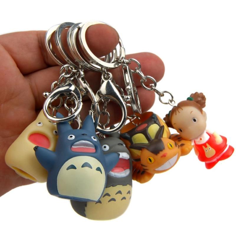 Lindo mi vecino Totoro llavero de PVC mujeres de dibujos animados Fans llavero de abalorios llavero regalos de niños bolsa de joyería