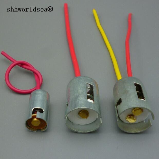Shhworldsea 2 uds BA15S BA15D S25 BA9S T9 sola bombilla hembra halógena faro pigtail soporte de conector 10cm de alambre de 1156 enchufe 1157