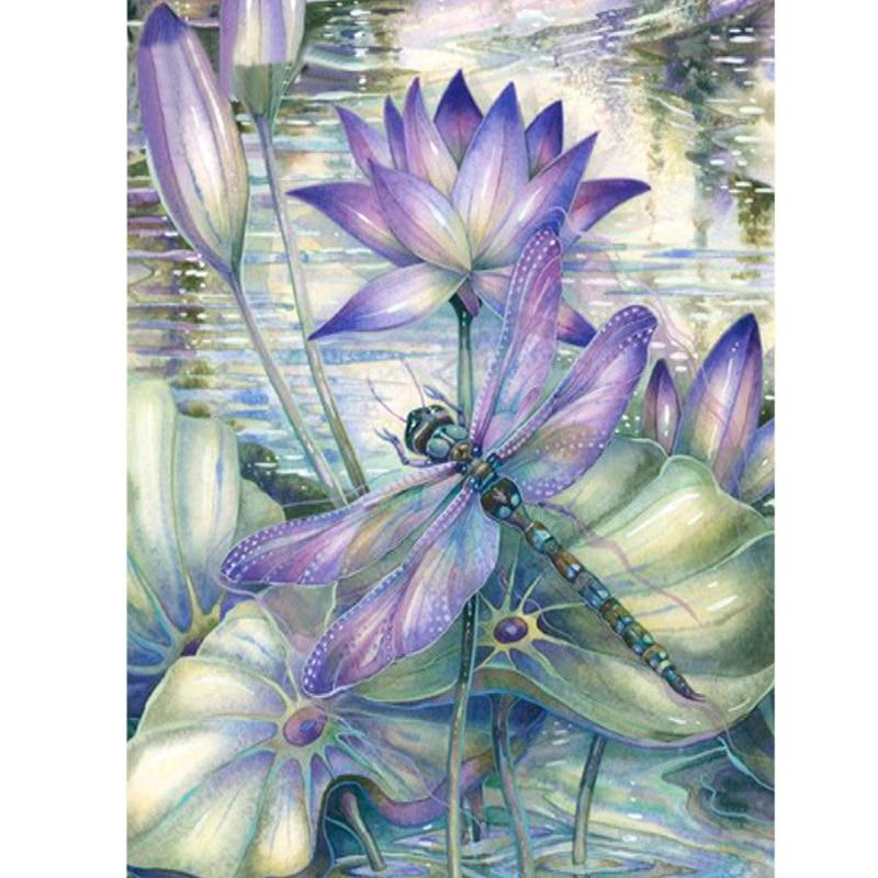 Diamante pintura 5D DIY completo taladro diamante bordado loto libélula Patrón Cruz puntada pegatinas artesanal