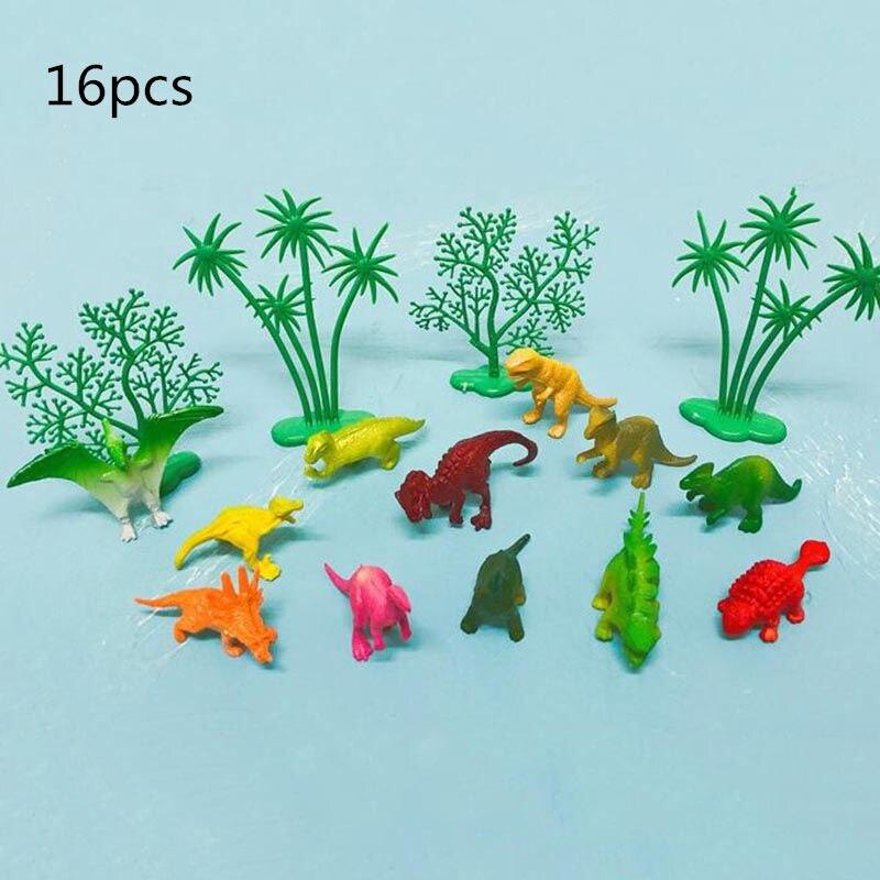 16 unids/set dibujos animados dinosaurio Cupcake Toppers adornos para fiesta de cumpleaños niños favores dinosaurio fiesta torta Bandera de baño para bebé