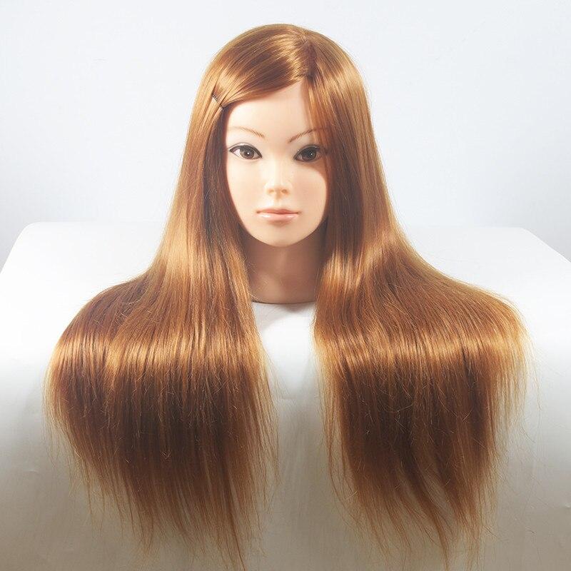 Cabeza de Maniquí de pelo sintético para práctica, peinado de maniquí, pelo largo y cabeza Natural de entrenamiento para peluquería
