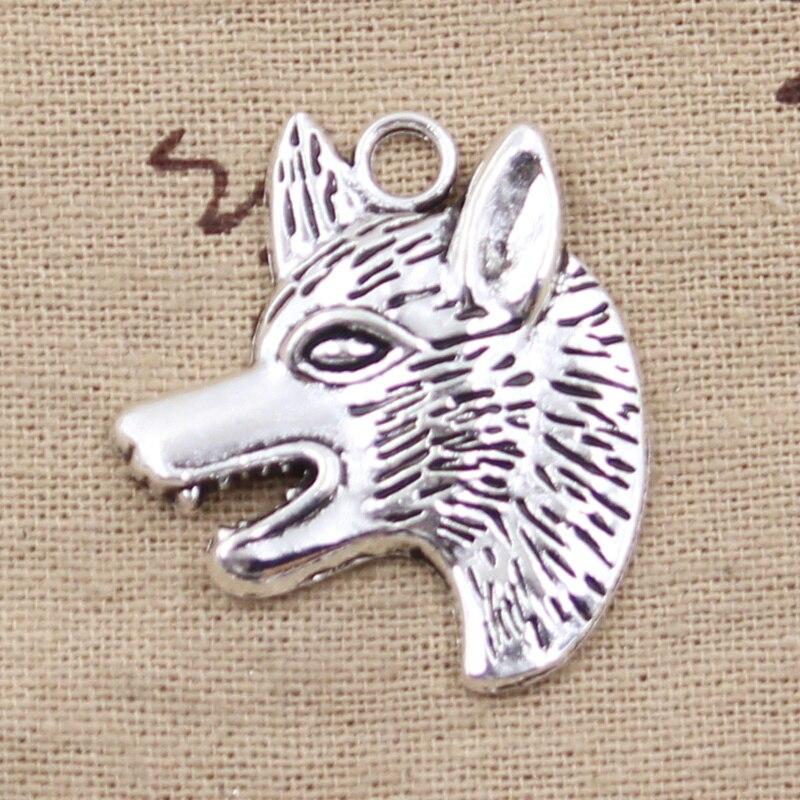 3 uds encantos perro Lobo Wolfhound 35x30mm Color plata antiguos colgantes plateados haciendo DIY hecho a mano tibetano Búsqueda de joyería
