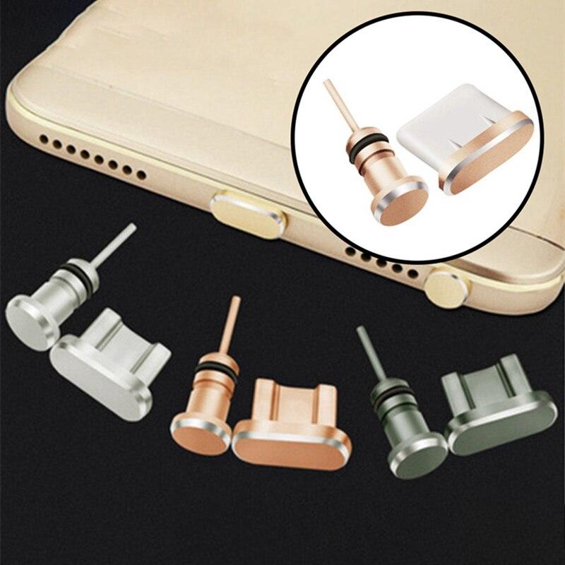 Puerto de carga Micro USB de Metal + Puerto de auriculares enchufe de polvo teléfono móvil Android 3,5mm tapón para auricular recuperar Pin de tarjeta