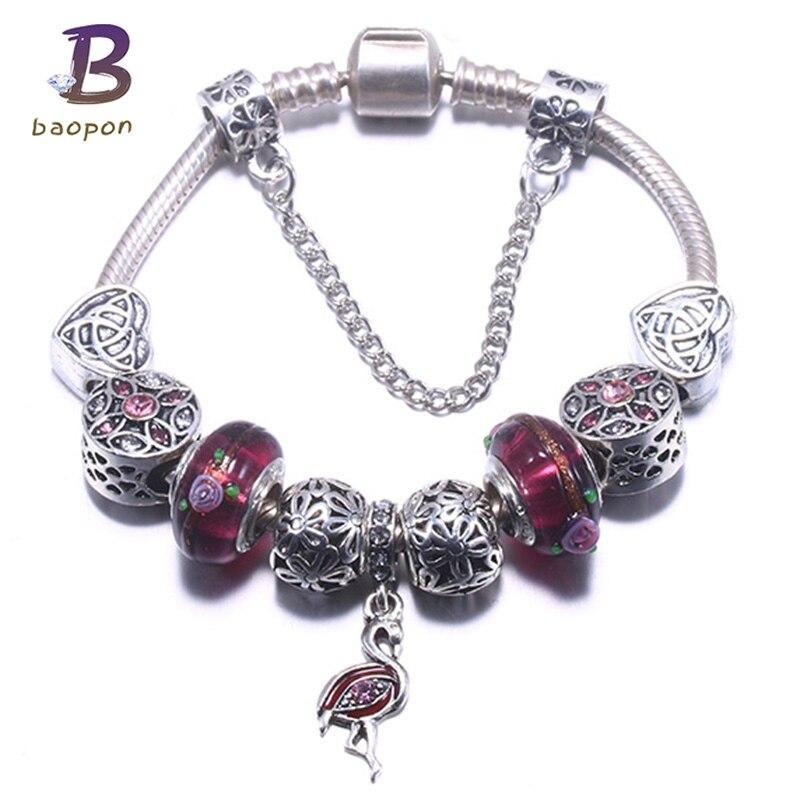 BAOPON 2018 pulsera de cristal púrpura de moda para Mujeres Europeas Diy cuentas Panodra pulseras y brazaletes Pulseira