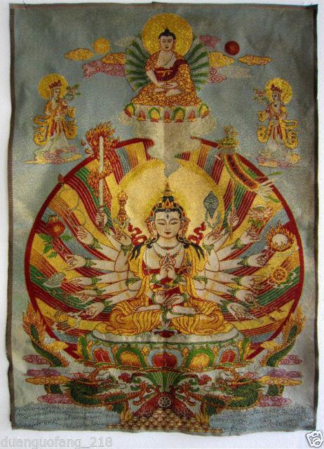 Budista Tibetano Tíbet seda en forjado Buda Thangka