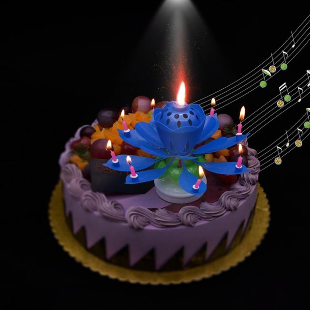 Rotating Lotus Flower Music Birthday Candle Blossom Birthday Party Music Cake Rotating Candles Kid Cake Decoration