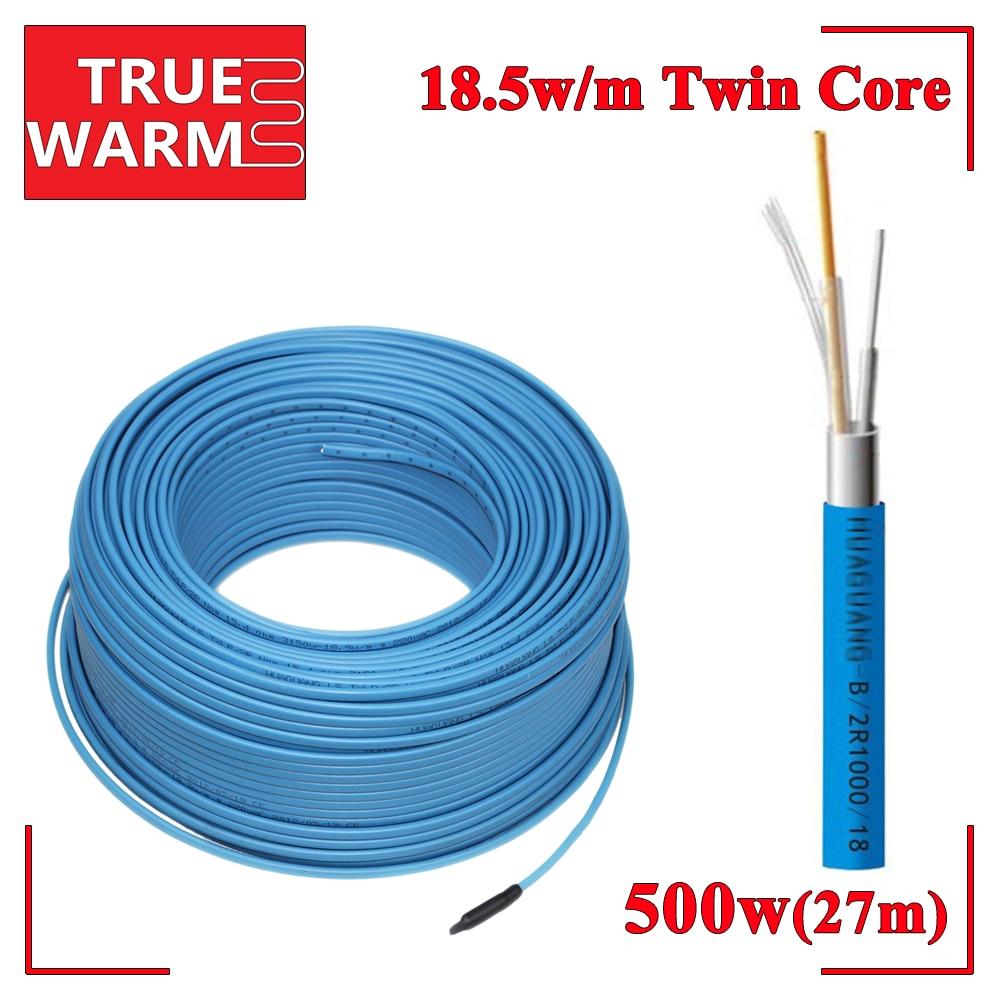Cable de calefacción por suelo radiante con doble Conductor de 500 W 27 M, Wholesale-HC2/18-500