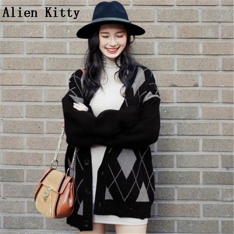 Alien Kitty/осенне зимний свитер для женщин длинный рукав v образный вырез вязаный