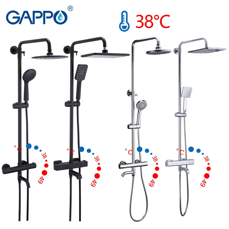 Gappo Black Faucet Shower Set Bathtub Thermostatic cold hot water tap temperature faucets shower system waterfall mixer shower black shower set luxurious bath system large rain waterfall concealed led shower head 600x800mm with thermostatic shower faucets