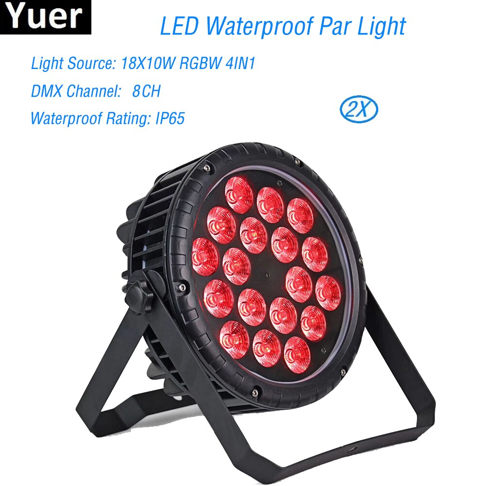 pack of 16 rasha stage light 12 15w 5in1 rgbaw wireless led par light wifi led slim par projector for wedding party event LED Waterproof Par Light 18x10W RGBW LED Stage Light Par Light With DMX512 For Disco DJ Projector Party Decoration Night Light