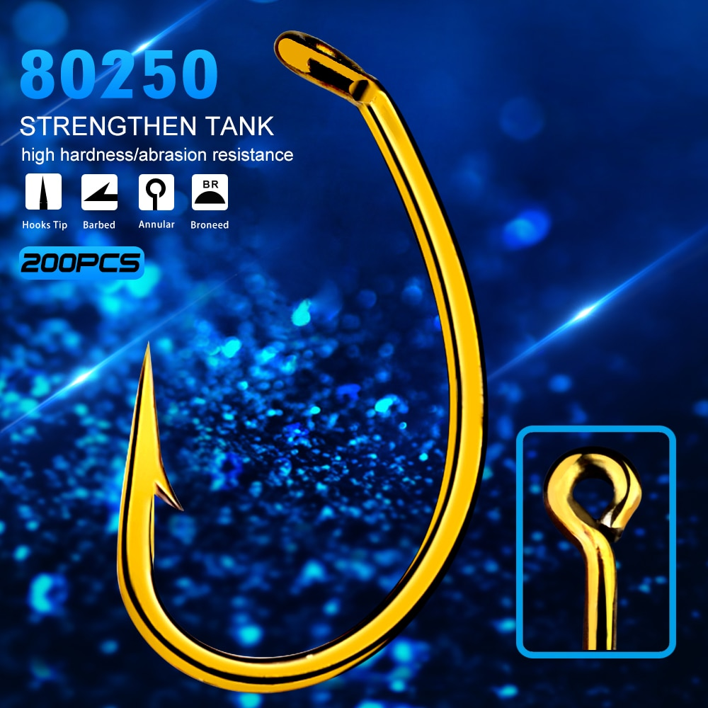 KATUYSHA 200pc Fly Fishing Hook 80250-8/12 Size fishhook Fly Hooks Fishing Trout Salmon Dry Flies Fish Hook Strong Single Hook