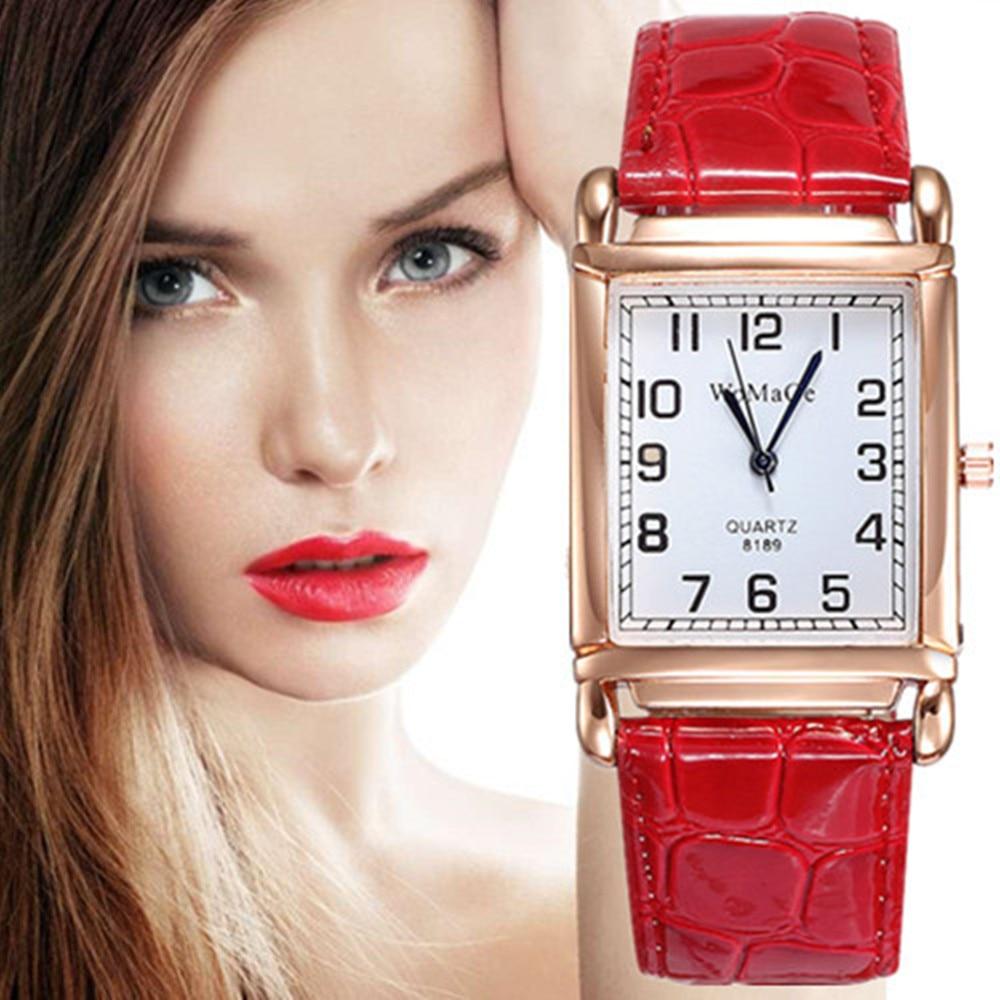Relojes de pulsera de cuarzo con esfera rectangular de oro rosa para mujer