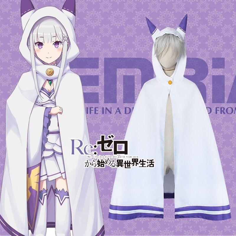 Аниме Re Zero Kara Hajimeru Isekai Seikatsu Emilia, плащ с ушами для косплея