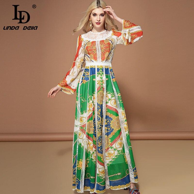 Ld linda della moda manga longa maxi vestidos femininos lindo floral impressão rendas retalhos férias festa vintage vestido longo