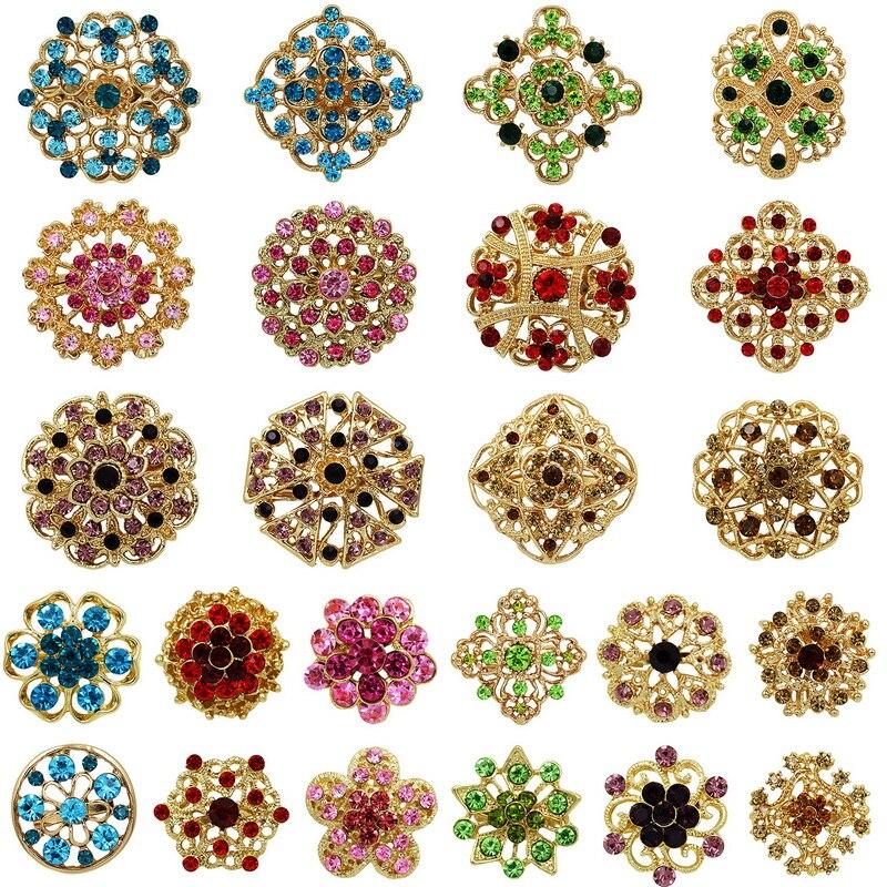 Lote de 24 broches variados de flores para manualidades, accesorios para ramos de boda, venta directa de fábrica