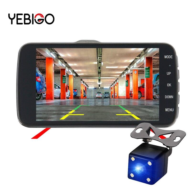 Cámara DVR para coche YEBIGO, doble lente, 4,0 pulgadas, HD, 1080P, Registrador de vídeo, visión nocturna, cámara de salpicadero, cámara de salpicadero para coche