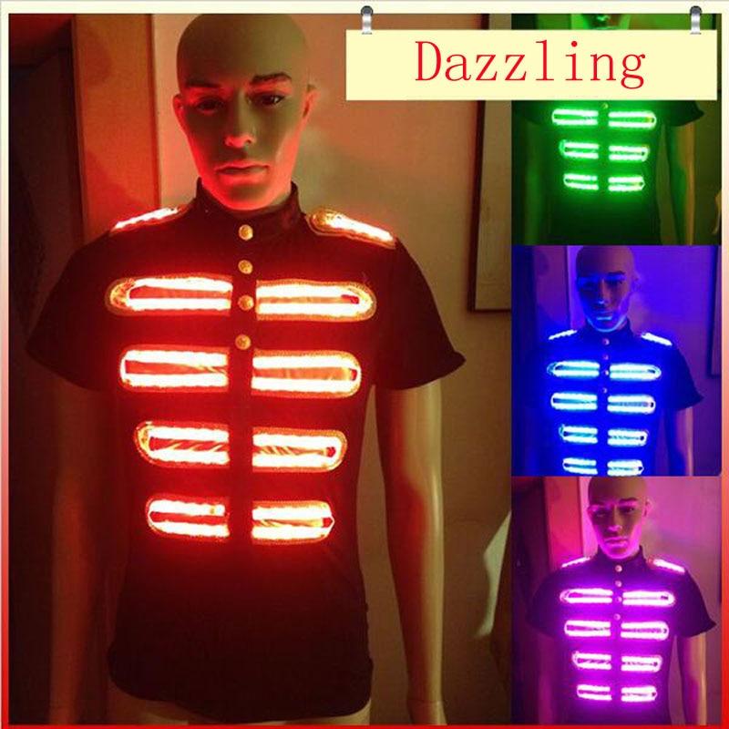 Z RGB Control remoto colorido LED brillante trajes LED ropa de escenario para danza Performace LED camiseta evento suministros